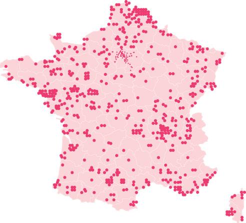 Carte de France des magasins Nocibé