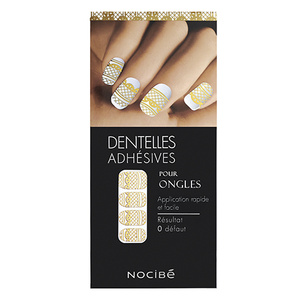 DENTELLE ADHESIVE POUR ONGLES OR